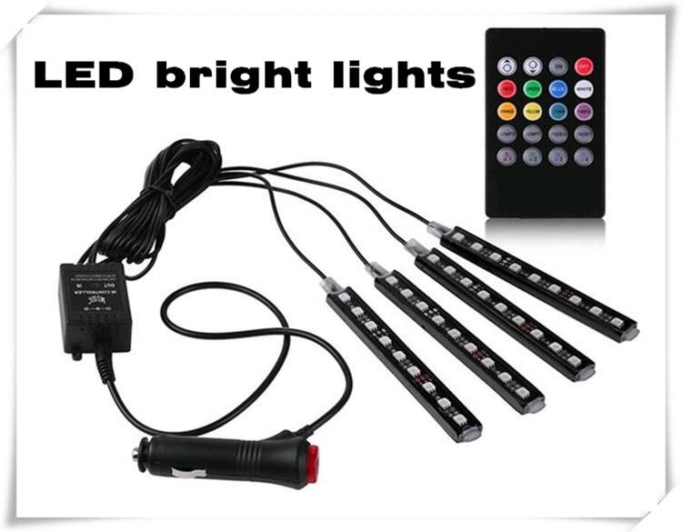4pcs/et 7 Color LED Car Interior Lighting For Mitsubishi ASX Outlander Lancer Colt Evolution Pajero Eclipse sticker Accessories