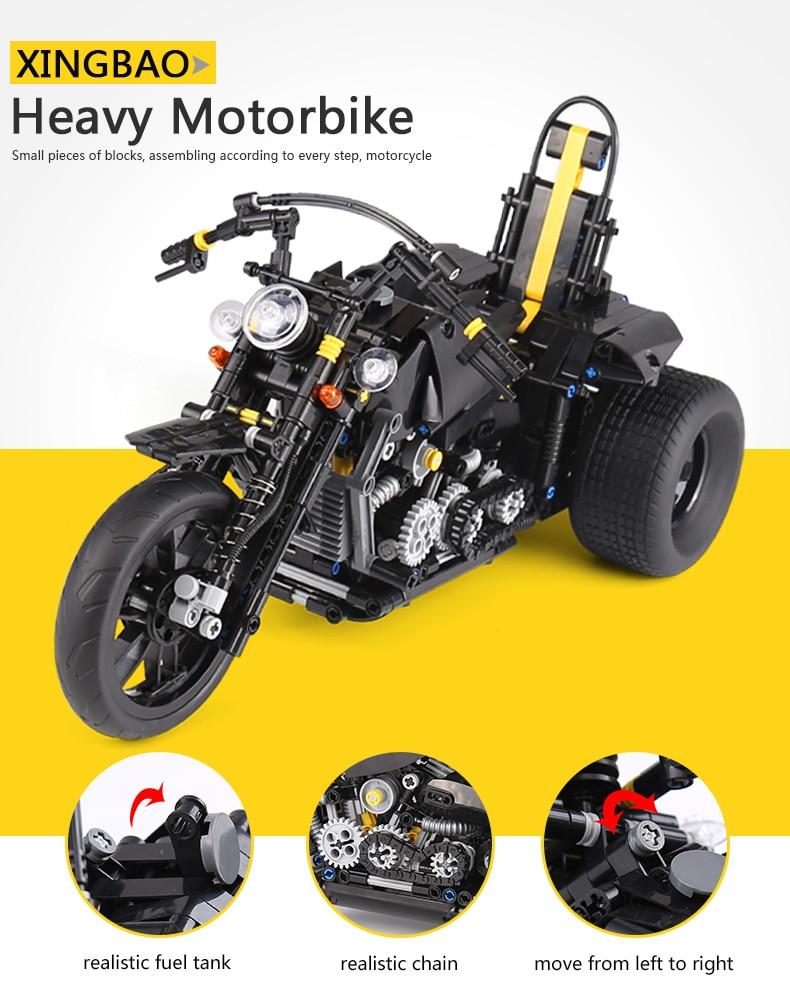 The 853Pcs XingBao 03020 Classic Car Series Heavy Motorcycle Set Building Blocks Bricks Educational Toys Model