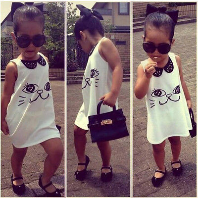 sleeveless summer dress 2016 wholesale baby girls kids sequins dress casual party cartoon cat prined dress age 2-7Y