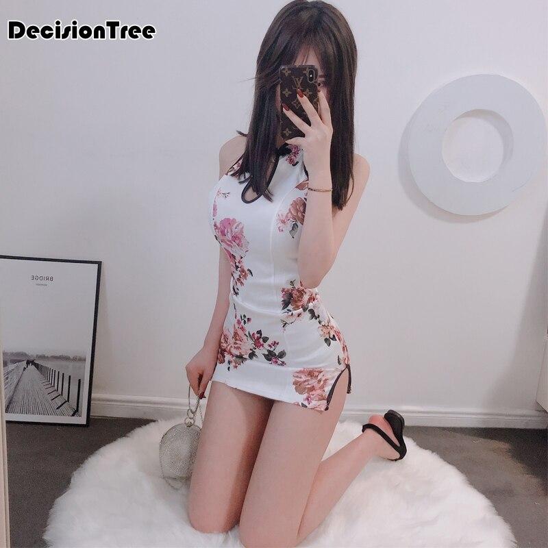 2019 Sleeveless Halter Qipao Sexy Cheongsam Chinese Dress Female Halter Qipao Oriental Dress Women Evening Dress Split Dress