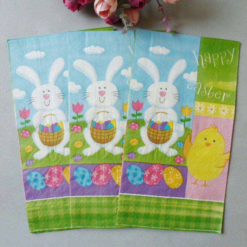 3 Bags 20pcs/bag Napkins Easter Rabbit Egg Paper Napkins