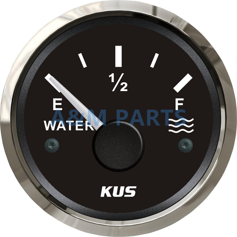 KUS Marine Jauge de Niveau D'eau Bateau Réservoir D'eau Niveau Jauge Indicateur Vide Plein Rouge/Jaune LED 12/24 V 52mm 240-33 ohms