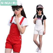 Children's wear new girls white overalls 2017 summer kids leisure overalls shorts pants  girls trousers for 3 4 5 6 7 8 12 years