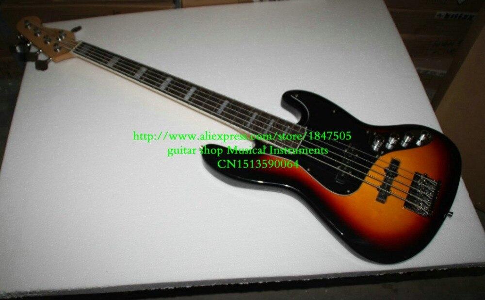 Free Shipping top quality factory custom New sunburst 5 strings bass guitar basswood body guitar bass Guitar free shipping chinese factory custom 2015 100