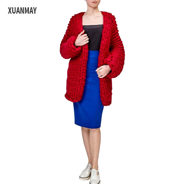 2017 new type Thick coarse wool Cardigan sweater coat pure Handmade thick  Pink Sweater coat Female shawl 46be78d93
