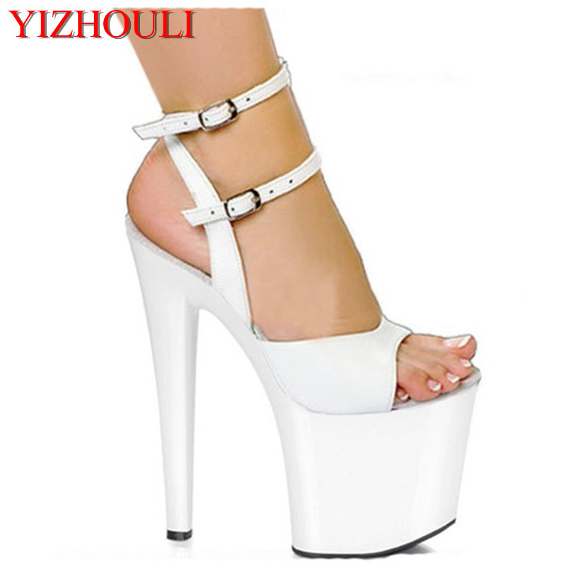 Sexy High Platform Lined Sandal 8 Inch Heel White bride wedding dress sexy ultra high thin heels 20cm sandals women's Dance Shoe thin heels pearls diamonds large ultra high heel platform shoe shoes of high quality for the dating and wedding ceremony