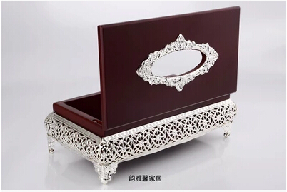 European Goldor Silver Plated Luxury Metal Tissue Bo Wood Napkin Holder Home Decoration Hotel Zjh004 In From Garden On