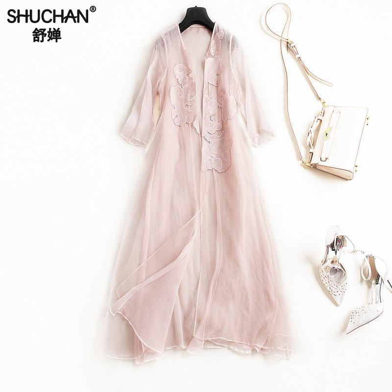 SHUCHAN Natural Silk Long Blusas Femininas 2018 Women Shirts Kimono Cardigan Blouses Summer Chinese Style Appliques 1970
