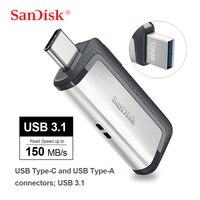 Movimentação de flash multifuncional do usb de sandisk 3.1 tipo-c 256 gb 128g 64g 32g para smartphones/tabuletas/computadores