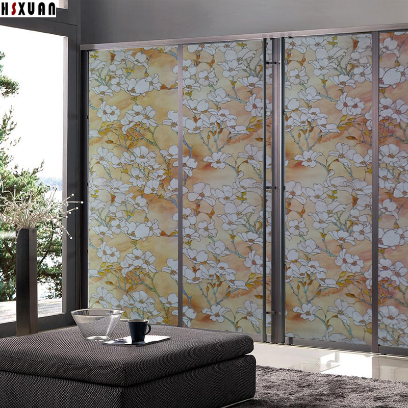 frosted window privacy film 92x100cm magnolia 3d flower decorative self Adhesive living room silding door glass