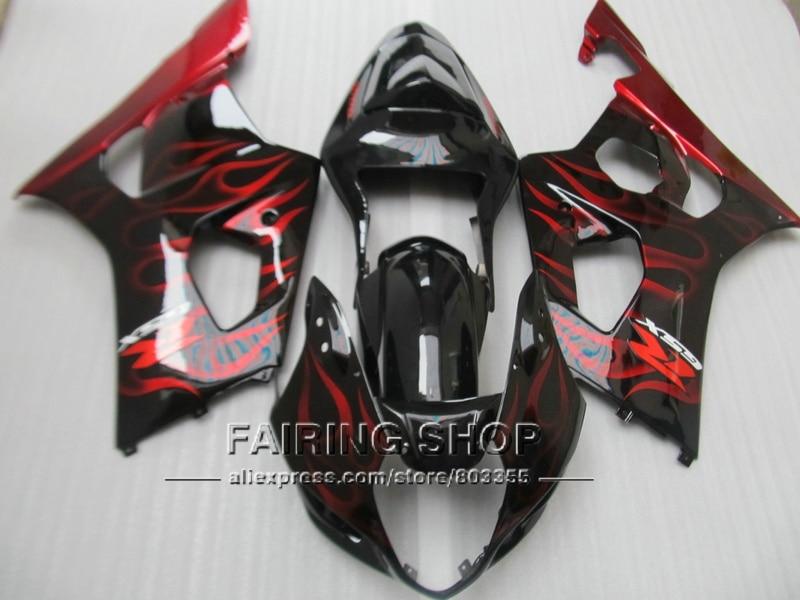 Новые горячие обтекатель кузова комплект для SUZUKI GSXR1000 03 04 K3 k4 красный Пламя Черный инъекции обтекатели комплект GSXR 1000 2003 2004 wt37