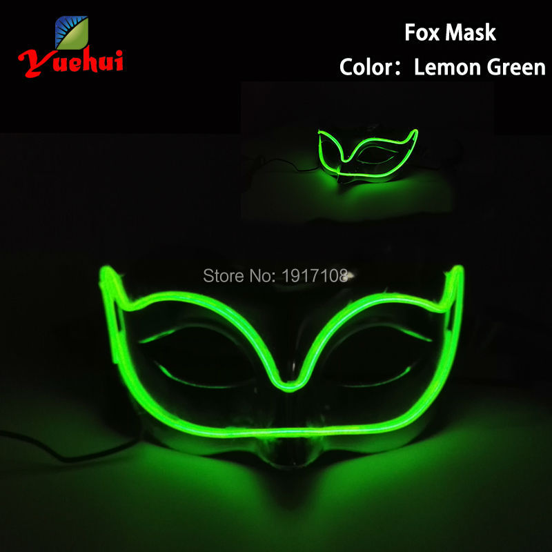 DC-3V 10 Color Shiny Sound Active Wedding decor EL wire Mask Halloween Fox Mask LED Glowing Party Mask For Night Party Occasion