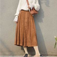 Sherhure 2018 High Quality Women Suede Skirt Long Pleated Skirts Womens Saias Midi Faldas Vintage High Waist Women Midi Skirt