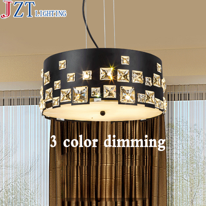 M LED Pendant Iron Lamp E27 Black/White 3 Size Modern And Concise Round Shape Crystal Personality Living Room Bedroom Lighting modern crystal lamp round shape led pendant light for bedroom living room lighting