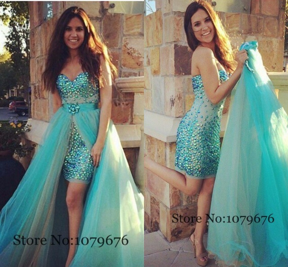 Best Sale 2015 Strapless Tulle Turquoise Prom Dress With Detachable ...
