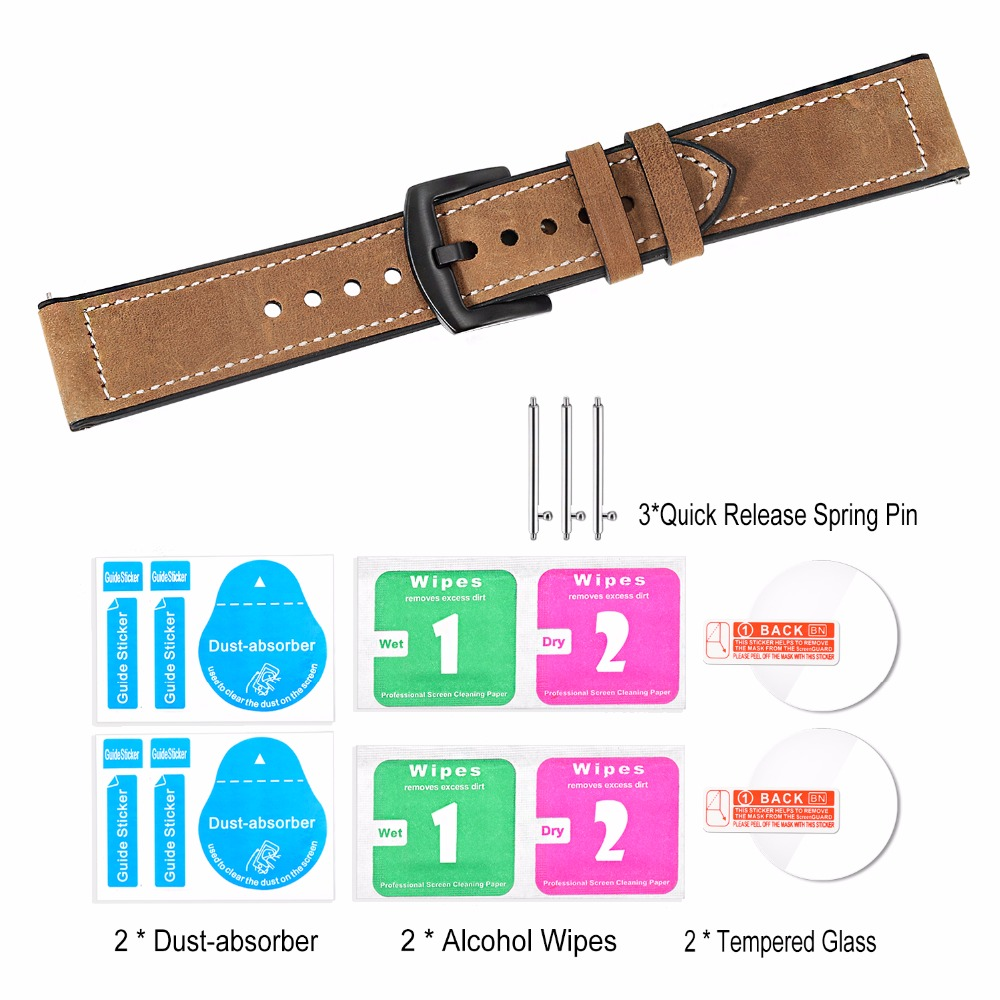 Image 5 - TRUMiRR Genuine Leather & Silicone Rubber Band +Screen Protectors for Samsung Galaxy Watch 46mm 42mm Watchband Steel Clasp Strap-in Watchbands from Watches