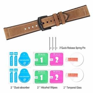 Image 5 - TRUMiRR prawdziwej skóry i z gumy silikonowej zespół + ekrany ochronne do zegarka Samsung Galaxy 46mm 42mm pasek do zegarków stal zapięcie pasek