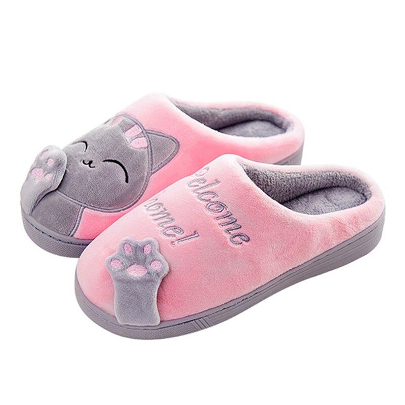 2018 cálido gato invierno zapatos mujeres amantes casa zapatillas comodidad casa Zapatos para mujeres más zapatos de interior zapatillas Zapatillas de piel de gato