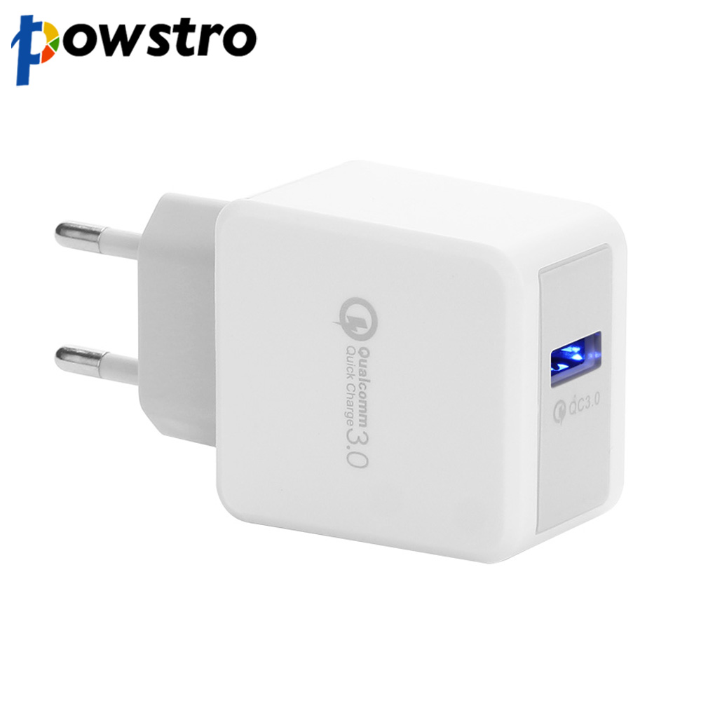 Powstro QC 3.0 Wall Charger Portable Phone Charger Travel Smartphone Adapter 5V 2.4A Fast Charging for Samsung S8 for iPhone 8 X