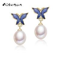 Aitunan Echt Natuurlijke Parel Oorbellen Blauwe Vlinder Parel Pearl Sieraden 925 Sterling Zilveren Oorbellen voor Vrouwen