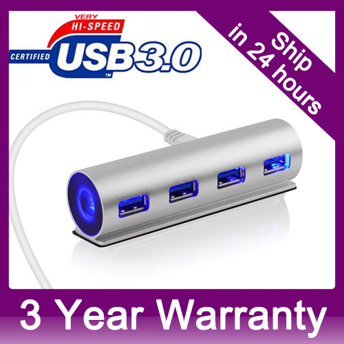 LED De Aluminio de $ Number Puertos USB 3.0 HUD Bus-power para iMac Macbook Pro aire Mini Ordenador Portátil Notebook PC de Escritorio con Puerto de la CC para Extra poder