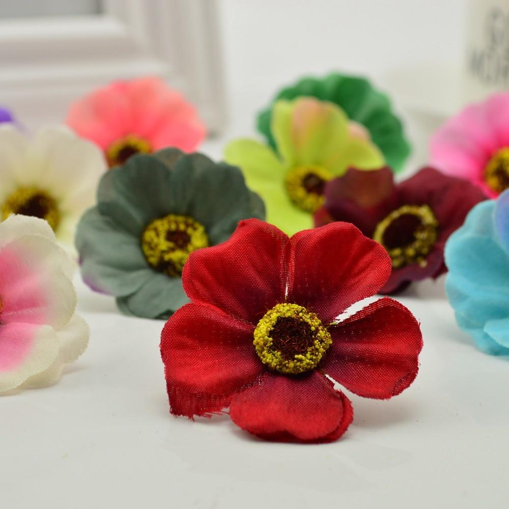 10pcs cheap Silk cherry blossoms 4CM diy wreath material Wedding scene decoration Candy box accessories Artificial flowers daisy