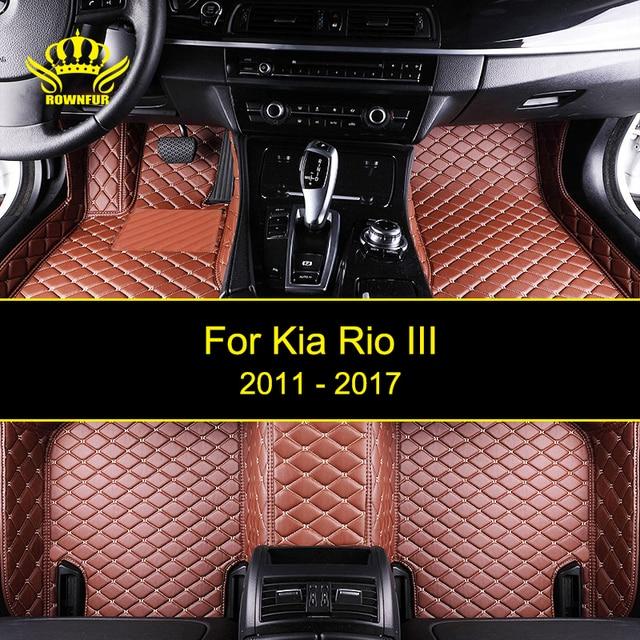 rownfur auto vloermatten voor kia rio iii beschermen de auto schoon waterdichte lederen vloermatten auto interieur