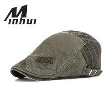 71a37f3f7bf77 Minhui nueva moda a cuadros tapa boina sombrero para los hombres casquillo  plano de la vendimia