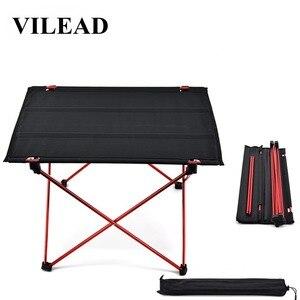 Image 1 - VILEAD Mesa de acampada portátil, mesa de aluminio plegable, resistente al agua, para exteriores, senderismo y playa, 57x42x38 cm, 6061