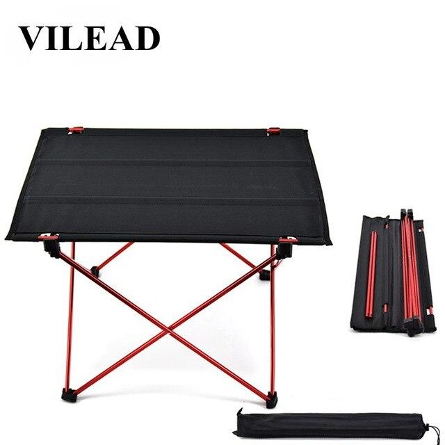 VILEAD Mesa de acampada portátil, mesa de aluminio plegable, resistente al agua, para exteriores, senderismo y playa, 57x42x38 cm, 6061