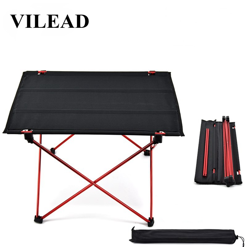 VILEAD Portable Camping Table 57*42*38 cm 6061 Aluminium Folding Durable Tourist BBQ Outdoor Hiking Beach Waterproof Stable Fold-in Camping Tables from Sports & Entertainment