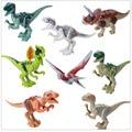 8pcs/Lot Jurassic World Dinosaur Figures Jurassic Park 4 Bricks Models Building Blocks Toys for Children Legoe Compatible