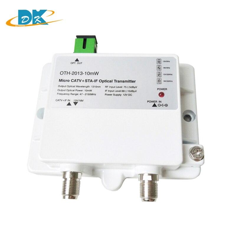 CATV+STA-IF Micro Optical Transmitter OTH-2013-10mW 47-2150MHz FTTH 1310nm single mode 12V DC MiniOptical Transmitter