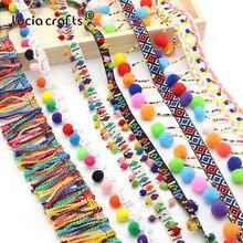 Lucia crafts Cinta de borla de encaje para coser, pompones, tela para coser, ropa, almohada, zapatos, bolso, accesorio, N0302, 1 yarda/lote