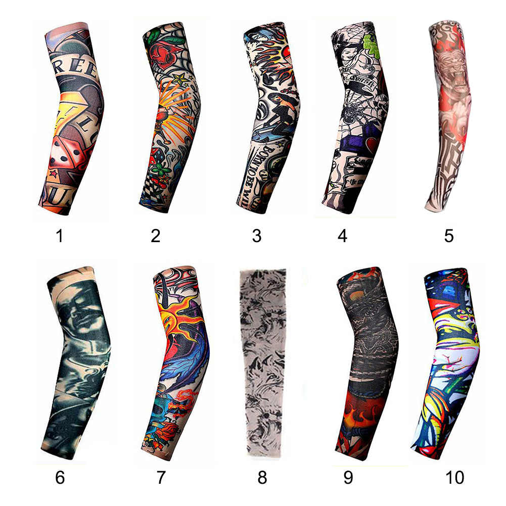 Fashion Men And Women Tattoo Arm Leg Sleeves High Elastic Nylon Halloween Party Dance Party Tattoo Sleeve #105 New Anti Men's Arm Warmers