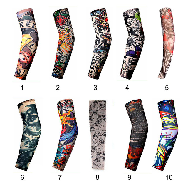 Professional Sale Anti-sunshine Fashion Men And Women Tattoo Arm Leg Sleeves High Elastic Nylon Halloween Party Dance Party Tattoo Sleeve Men's Arm Warmers