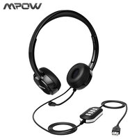 Mpow Headset USB AUX Headset With Noise Reduction Sound Card In Line Control Protein Memory Earmuffs