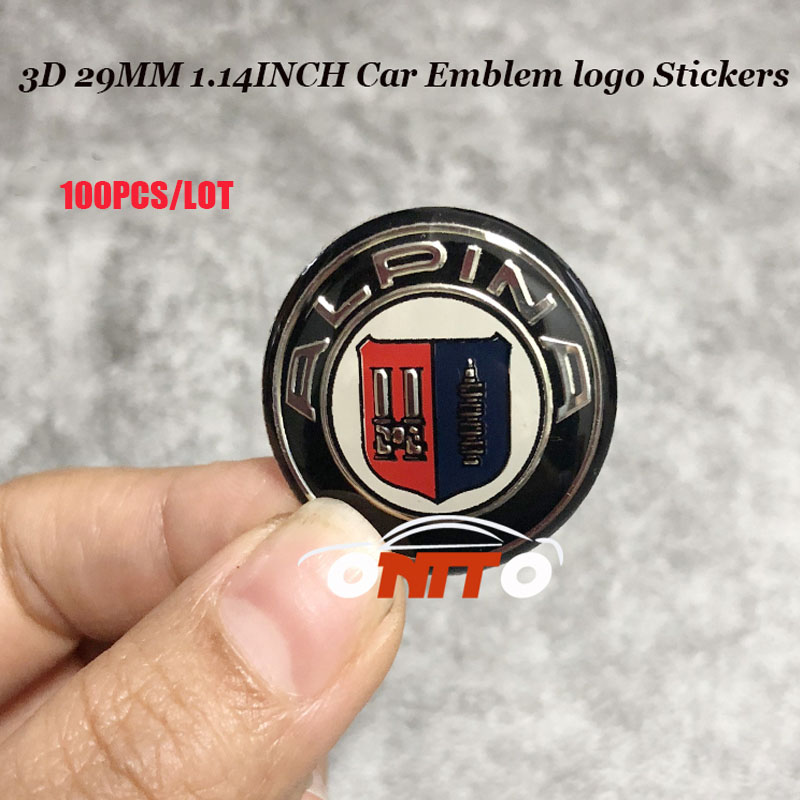 100 pieces multifunction Stickers 29mm Decals Auto Accessories Car Emblem 2 9cm For Blue white Alpina