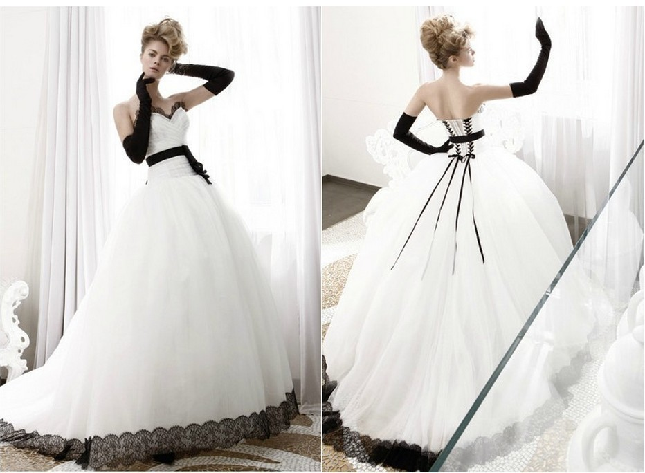 Awl045 Best Beautiful White And Black Appliqued And Lace Wedding
