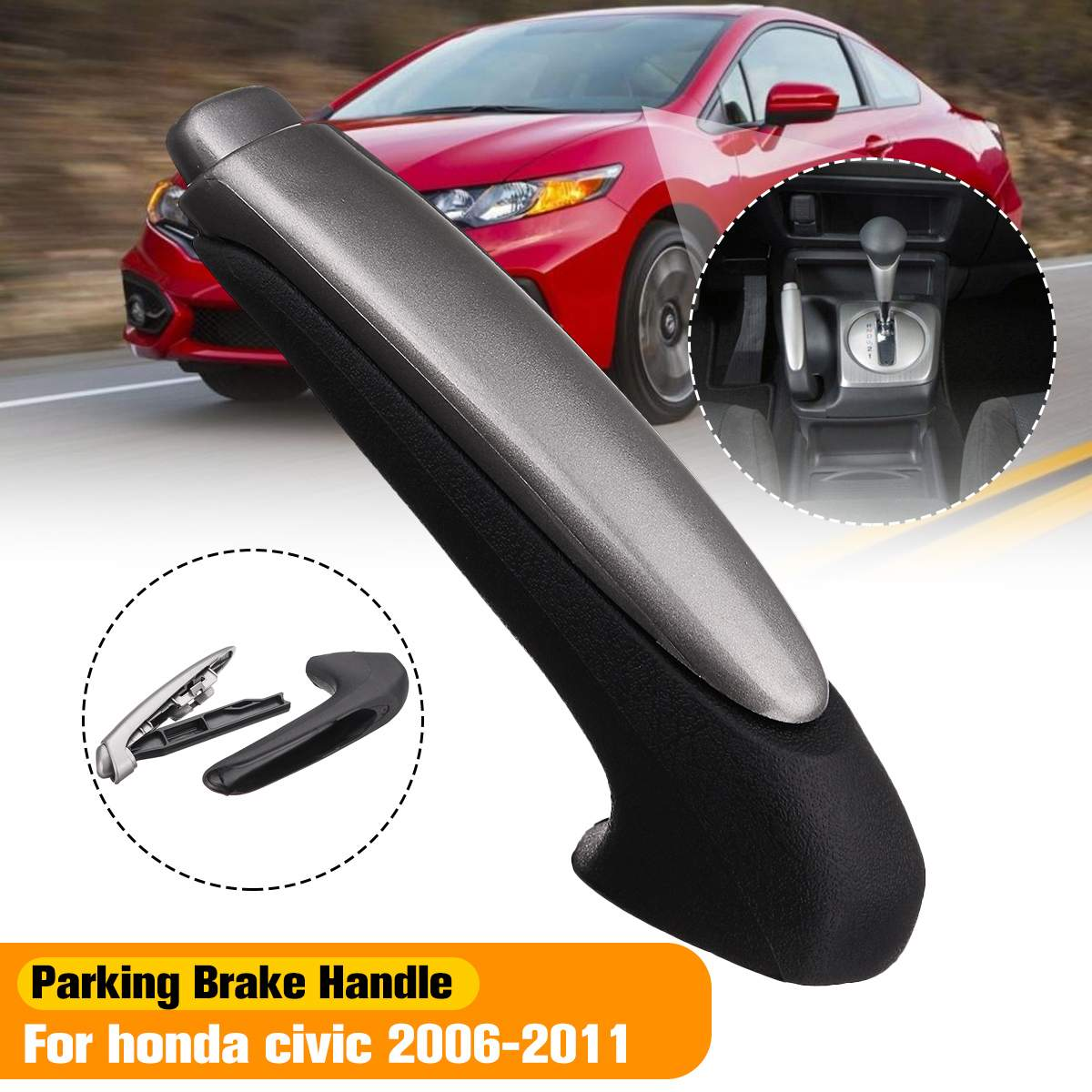 Handle Cover Emergency Car Interior Parking Hand Brake Handle Lever Grip Cover For Honda For Civic 2006 2007 2008 2009 2010 2011