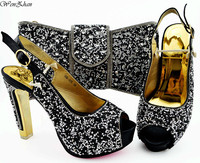 Black Italian Pumps Shoes Matching Bag With Sequins Paillette African Nigeria Shoes and Bag Set for Parties 38 43 WENZHAN B94 5