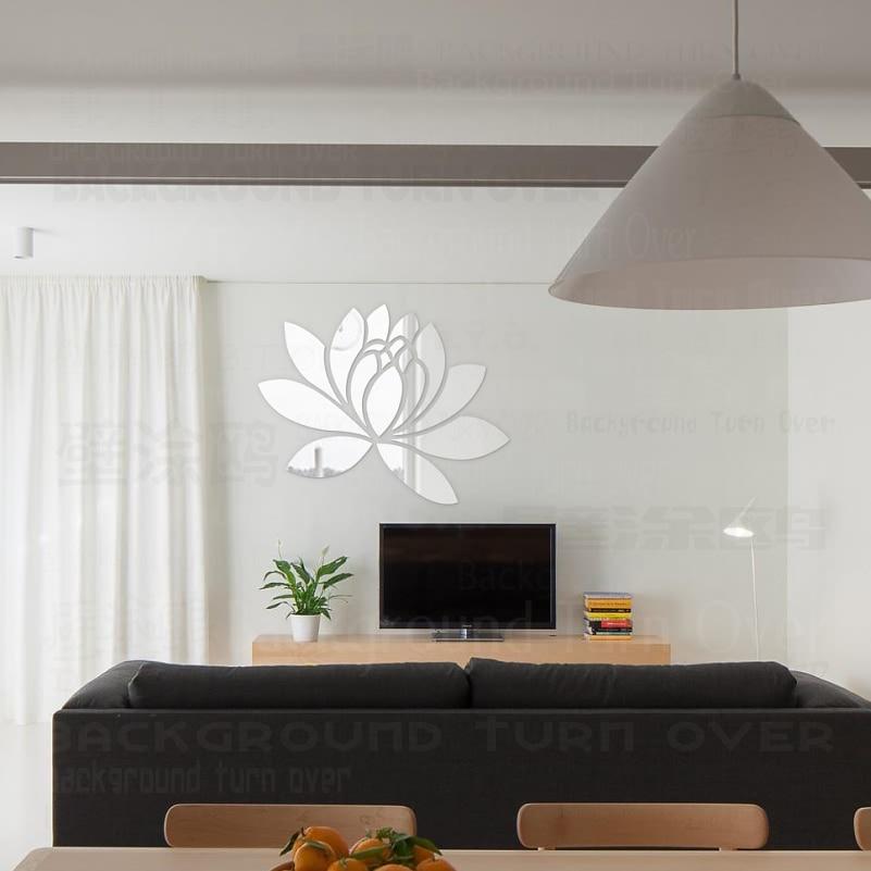 Ustvarjalno eleganten Lotus 3D dekorativno akrilno ogledalo stenske - Dekor za dom - Fotografija 2