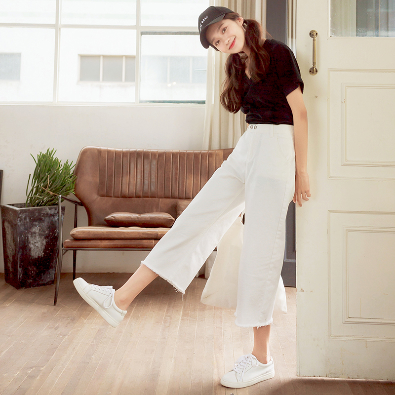 Plus size white calf length wide leg pants female college women 2017 straight jeans large solid trousers pockets bottoms good charter club new brown straight leg women s size 10 corduroys pants $59 114