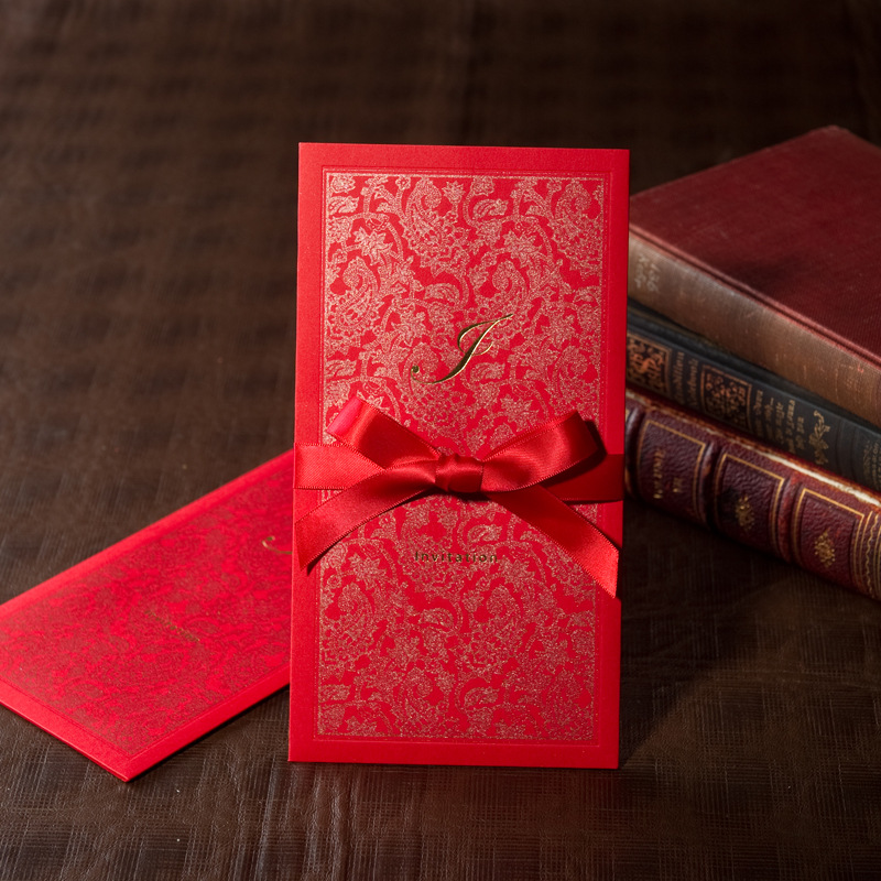 Asian Themed Red Color Wedding Invitation Card With Ribbon In Cards