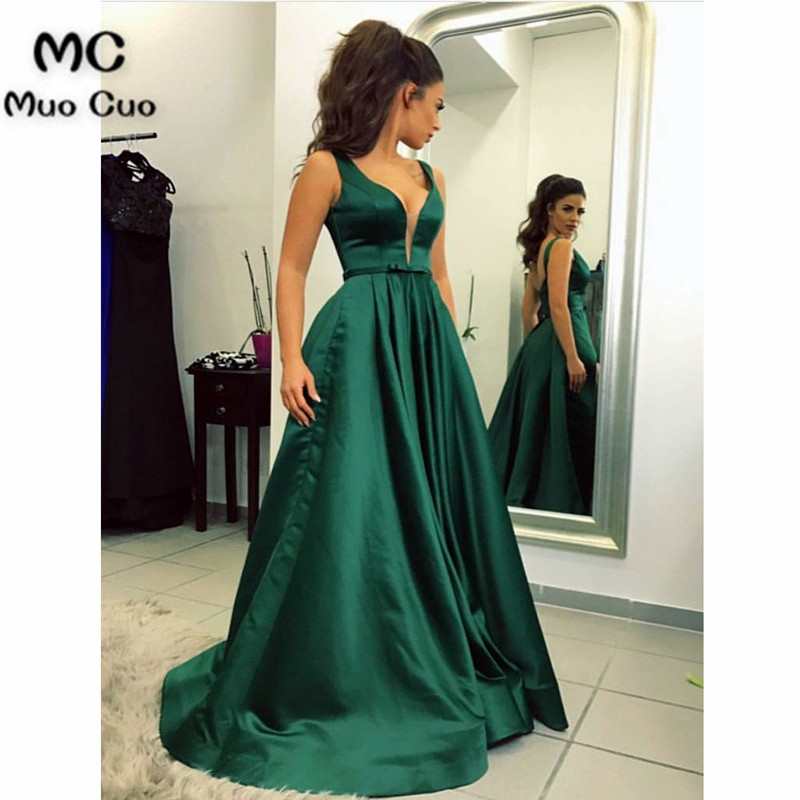 Teal 2018 A-Line   Evening   Prom   dresses   Long Deep V-Neck Vestidos de fiesta Satin Floor Length Sleeveless Formal   Evening     Dress
