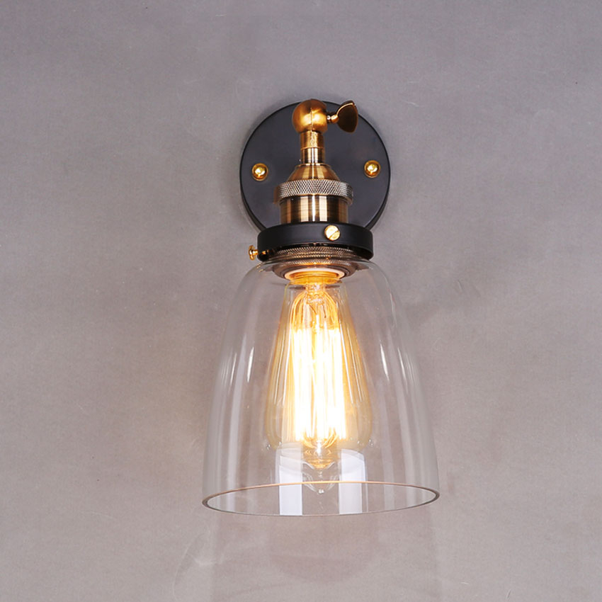 Industrial Vintage Wall Light Copper Glass Hanging Lamp E27 110220v