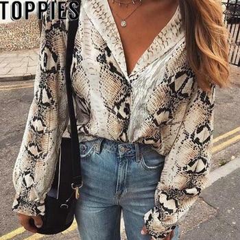2019 Spring Summer Women Snake Print Blouse Long Sleeves Turn-down Collar Snakeskin Shirts High Street Women Fall Fashion Tops blouse