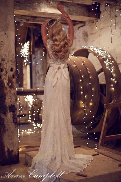 Don's New V-neckline Dresses Beaded Vintage Lace Anna Campbell A Line Wedding Dress Bridal Gown