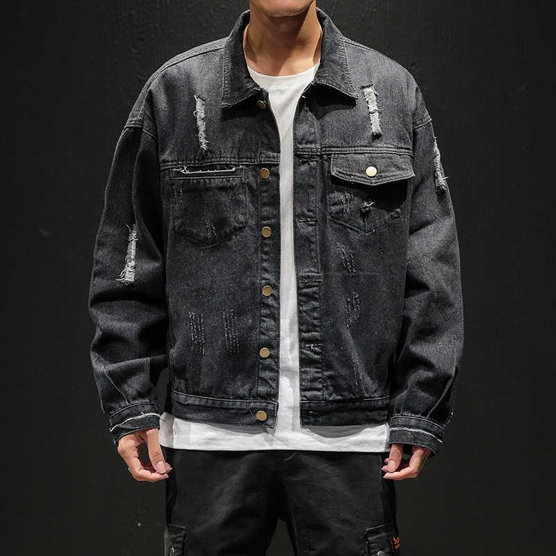 2019 メンズ穴ジーンズジャケットのボンバージャケット男性高品質ヴィンテージデニムジャケットコートストリートやつ M-5XL