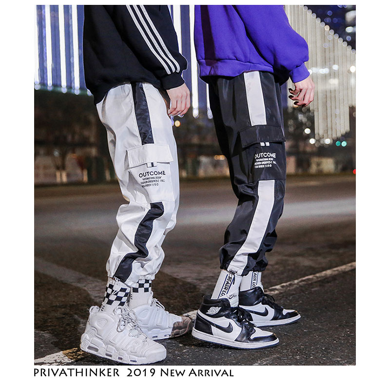Privathinker Patchwork Side Striped Straight Joggers Pants Men 2019 Mens Streetwear Sweatpants Male Vintage Korean Spring Pants